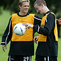 St Johnstone's latest signing ex Celtic and Sheffied Wednesday player Simon Donnelly during training this morning with ex-celtic team mate Chris Hay<br />see story by Gordon Bannerman Tel: 01738 553978<br />Picture by Graeme Hart.<br />Copyright Perthshire Picture Agency<br />Tel: 01738 623350  Mobile: 07990 594431