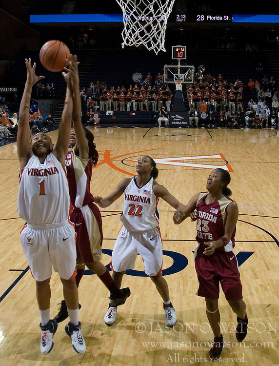 Virginia Cavaliers Forward Lyndra Littles (1) grabs a rebound against FSU.  The Virginia Cavaliers Women's Basketball fell to the Florida State Seminoles 79-77 in their final regular season home game at John Paul Jones Arena in Charlottesville, VA on February 18, 2007.