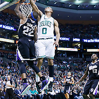 30 January 2013: Boston Celtics point guard Avery Bradley (0) blocks Sacramento Kings point guard Isaiah Thomas (22) during the Boston Celtics 99-81 victory over the Sacramento Kings at the TD Garden, Boston, Massachusetts, USA.