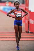 Brigid Kosgei (Kenya) wins the Elite Women's race in the Virgin Money 2019 London Marathon, London, United Kingdom on 28 April 2019.