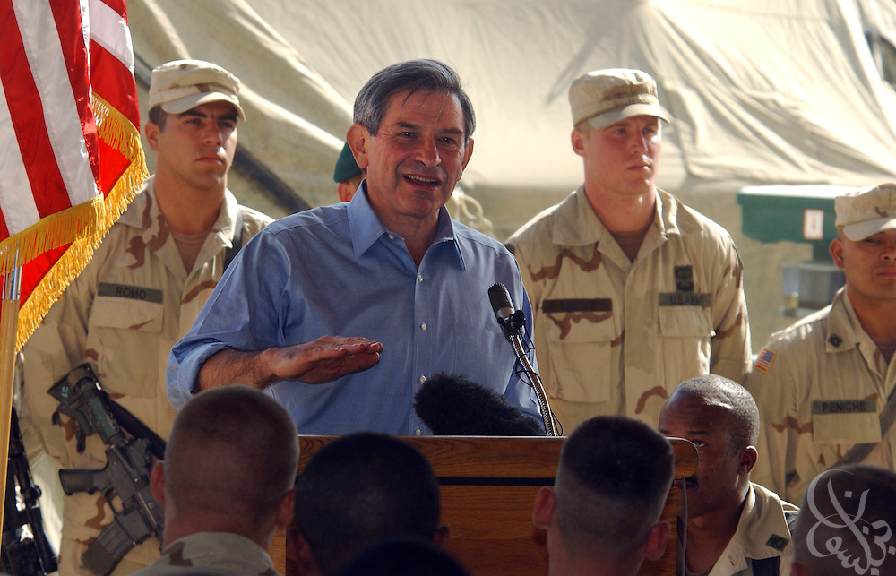 U.S. Deputy Defense Secretary Paul Wolfowitz speaks to soldiers during a visit to Bagram airbase in Afghanistan on July 15, 2002. Wolfowitz is currently touring the region and will meet with Afghan President Hamid Karzai before traveling to Turkey for meetings with coalition partners.