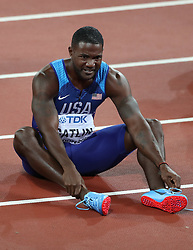 London, 2017 August 05. New 100m World Champion Justin Gatlin catches his breath and lets the moment sink in at the IAAF World Championships London 2017. © Paul Davey.