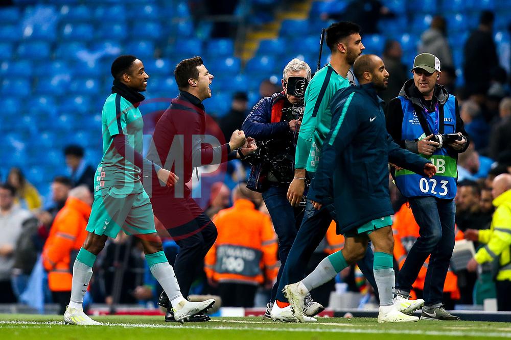 Tottenham Hotspur manager Mauricio Pochettino celebrates victory over Manchester City - Mandatory by-line: Robbie Stephenson/JMP - 17/04/2019 - FOOTBALL - Etihad Stadium - Manchester, England - Manchester City v Tottenham Hotspur - UEFA Champions League Quarter Final 2nd Leg