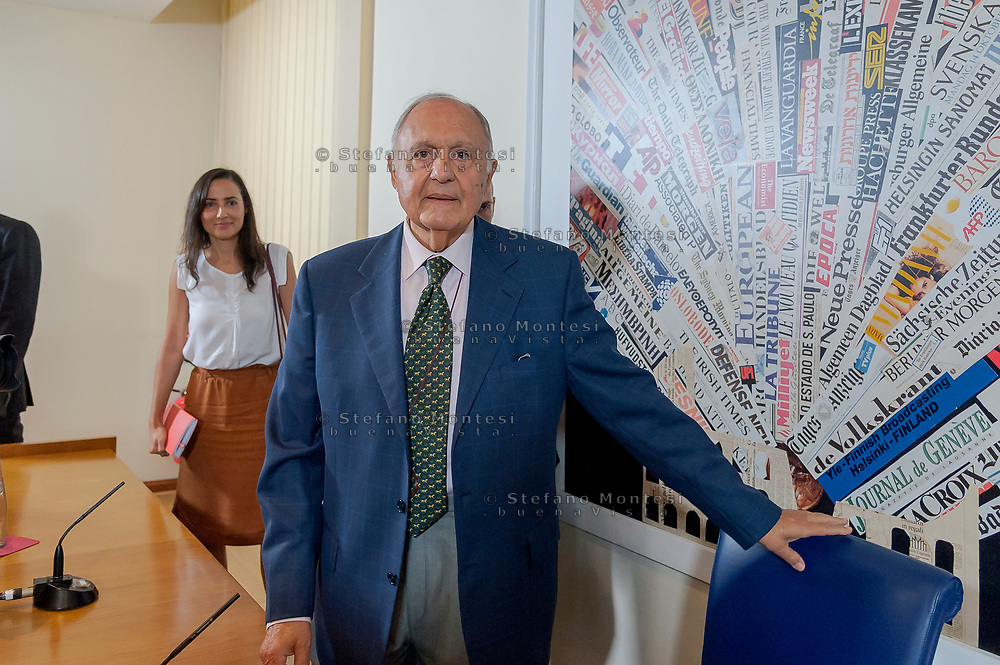 """ROME, ITALY - OCTOBER 8: The Minister for European Affairs Paolo Savona during the press conference """"A Politeia for a different, stronger and  fairer Europe""""  at the Foreign Press on October 8, 2018 in Rome, Italy. ("""