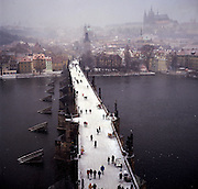 Charles Bridge spanning the River Vltava, Praque, Czech Republic