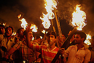 A victory celebration by Kashmiri Muslims in Srinagar. They held burning torches aloft at the culmination of a 9 day strike in which all schools and businesses shut down, and 6 civilians were killed during protests.<br /> The crisis began in June with a dispute over land near an important Hindu shrine, located in the Muslim majority state of Kashmir. Muslims held protests complaining that a state government plan to transfer 99 acres to a Hindu trust to build facilities for pilgrims near the shrine was actually a settlement plan meant to alter the religious balance in the region.