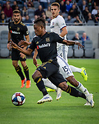 LAFC forward Latif Blessing (7) in action during a MLS soccer match against the FC Dallas in Los Angeles, Thursday, May 16, 2019. LAFC defeated FC Dallas 2-0.  (Ed Ruvalcaba/Image of Sport)