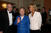 Michael Howard, Baroness Thatcher and Leonie Freida, Catherine de Medici by Leonie Frieda book party, English Speaking Union. 3 February 2004. © Copyright Photograph by Dafydd Jones 66 Stockwell Park Rd. London SW9 0DA Tel 020 7733 0108 www.dafjones.com