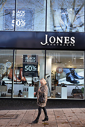 Black Friday, Norwich UK 29/11/19. Jones shoe shop