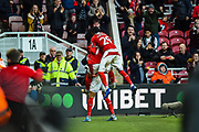 Ashley Fletcher of Middlesbrough FC celebrating his first goal to make it 1-0 to Middlesbrough during the The FA Cup match between Middlesbrough and Tottenham Hotspur at the Riverside Stadium, Middlesbrough, England on 5 January 2020.
