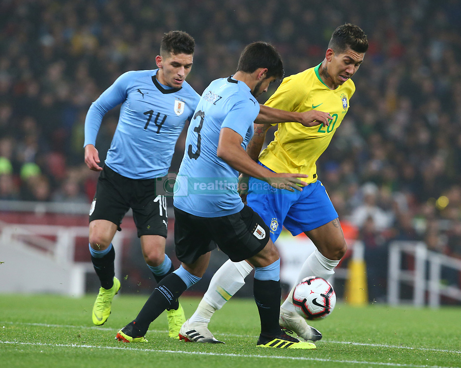 November 16, 2018 - London, England, United Kingdom - London, England - November 16, 2018.Firmino Roberto of Brazil .during Chevrolet Brazil Global Tour International Friendly between Brazil and Uruguay at Emirates stadium , Arsenal Football Club, England on 16 Nov 2018. (Credit Image: © Action Foto Sport/NurPhoto via ZUMA Press)