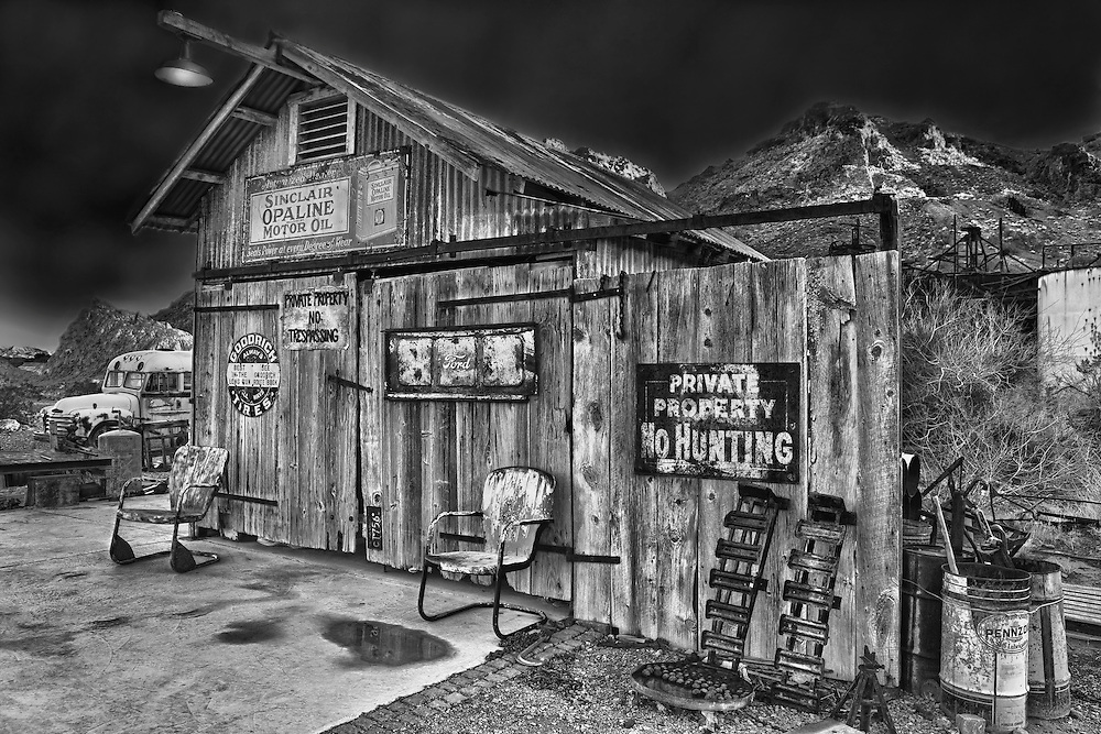 Wooden Shack Of Americana - Eldorado Canyon Techatticup Mine - Nelson NV - HDR -  Infrared Black & White