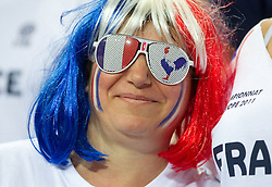 Fans of France during basketball game between National basketball teams of France and Greece at of FIBA Europe Eurobasket Lithuania 2011, on September 15, 2011, in Arena Zalgirio, Kaunas, Lithuania. France defeated Greece 64-56.  (Photo by Vid Ponikvar / Sportida)