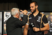 Sir Peter Leitch and Simon Mannering, Kiwis Long Luncheon, hosted by The Mad Butcher, Sir Peter Leitch. Ellerslie Convention Centre, Auckland. 12 June 2015. Copyright Photo: WIlliam Booth / www.photosport.co.nz