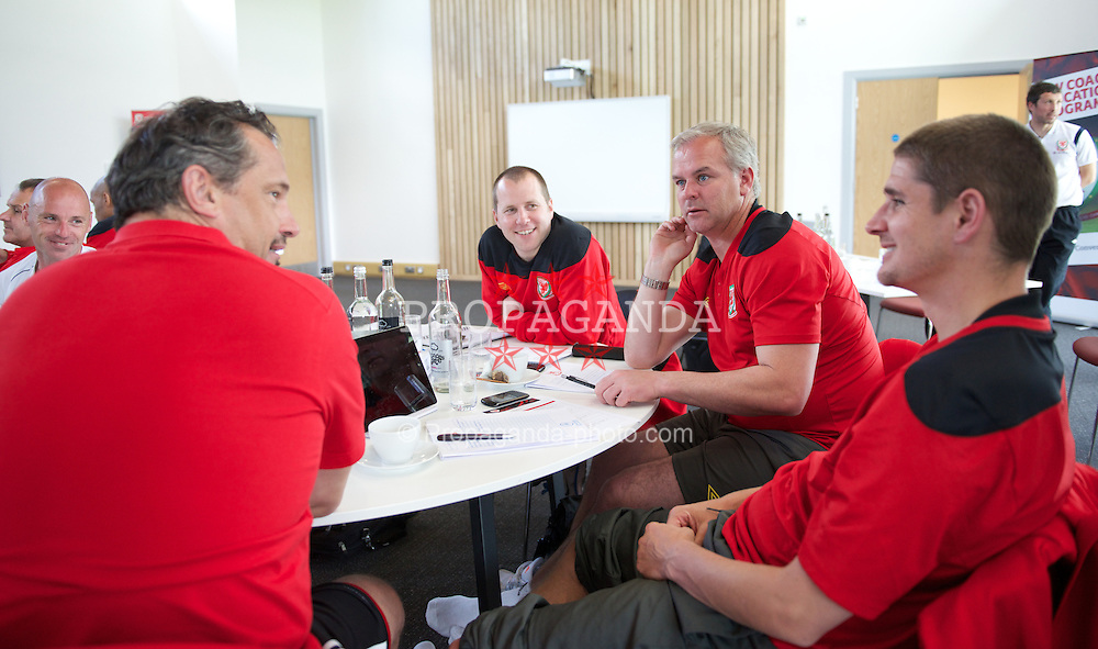 NEWPORT, WALES - Wednesday, May 22, 2013: Gareth Prosser and Adi Viveash during the Football Association of Wales' UEFA Pro Licence Course 2013 at Dragon Park. (Pic by David Rawcliffe/Propaganda)