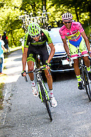 Ryder Hesjedal - Cannondale Garmin / Alberto Contador - Tinkoff Saxo - 28.05.2015 - Tour d'Italie - Etape 18 : Melide / Verbania <br />Photo : Pool / Sirotti / Icon Sport