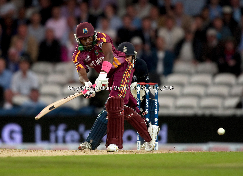 Dwayne Bravo bats during the ICC World Twenty20 Cup match between West Indies and England at The Oval. Photo © Graham Morris (Tel: +44(0)20 8969 4192 Email: sales@cricketpix.com)