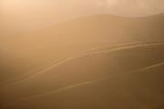 Coastal ridges and fog at sunset, Big Sur, California