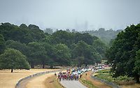 The peloton passes through Richmond Park including the first sprint stage. The Prudential RideLondon Classic. Sunday 29th July 2018<br /> <br /> Photo: Kate Green for Prudential RideLondon<br /> <br /> Prudential RideLondon is the world's greatest festival of cycling, involving 100,000+ cyclists - from Olympic champions to a free family fun ride - riding in events over closed roads in London and Surrey over the weekend of 28th and 29th July 2018<br /> <br /> See www.PrudentialRideLondon.co.uk for more.<br /> <br /> For further information: media@londonmarathonevents.co.uk