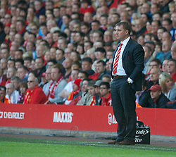 LIVERPOOL, ENGLAND - Sunday, May 19, 2013: Liverpool's manager Brendan Rodgers during the final Premiership match of the 2012/13 season against Queens Park Rangers at Anfield. (Pic by David Rawcliffe/Propaganda)