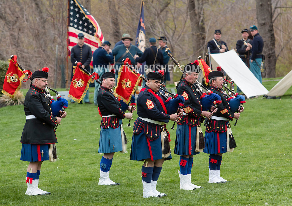 West Point, New York - Pipes and drums perform at the 33rd annual West Point Military Tattoo at Trophy Point at the United States Military Academy on April 26, 2015.
