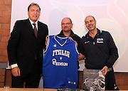 Roma, 28 novembre 2011<br /> Basket, presentazione nuovo allenatore nazionale italiana femminile <br /> nella foto: dino meneghin, giovanni lucchesi, roberto ricchini<br /> foto Ciamillo
