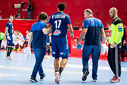 Timothey NGuessan of France during handball match between National teams of Belarus and France on Day 4 in Preliminary Round of Men's EHF EURO 2018, on January 16, 2018 in Arena Zatika, Porec, Croatia. Photo by Ziga Zupan / Sportida