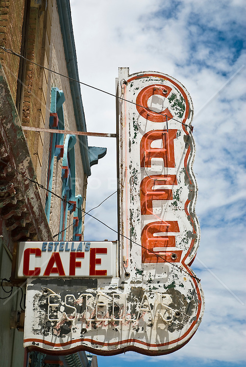 Old sign in Las Vegas, NM for a cafe