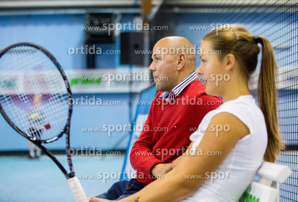 Andrej Krasevec and Hana Mraz at Tennis Exhibition after the Slovenian Tennis personality of the year 2014 annual awards presented by Slovene Tennis Association TZS , on December 6, 2014 in Millenium Centre, BTC, Ljubljana, Slovenia. Photo by Vid Ponikvar / Sportida