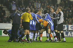 WIGAN, ENGLAND - TUESDAY, JANUARY 31st, 2006: Everton and Wigan Athletic players clash in a melee during the Premiership match at the JJB Stadium. (Pic by Chris Brunskill/Propaganda)