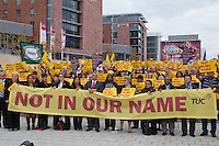 """Not In Our Name"" Vigil at the TUC Conference 2009...© Martin Jenkinson, tel 0114 258 6808 mobile 07831 189363 email martin@pressphotos.co.uk. Copyright Designs & Patents Act 1988, moral rights asserted credit required. No part of this photo to be stored, reproduced, manipulated or transmitted to third parties by any means without prior written permission"