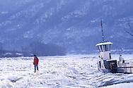 DEU, Germany, Rhineland-Palatinate, the iced river Moselle near the village Briedel, a freezed ferry boat.....DEU, Deutschland, Rheinland-Pfalz, die zugefrorene Mosel bei der Ortschaft Briedel, festgefrorene Faehre.