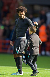 SHEFFIELD, ENGLAND - Thursday, September 26, 2019: A young Liverpool supporter get the shirt of Mohamed Salah after the FA Premier League match between Sheffield United FC and Liverpool FC at Bramall Lane. Liverpool won 1-0. (Pic by David Rawcliffe/Propaganda)
