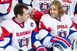 Tomaz Razingar and Robert Kristan during practice session of Slovenian National Ice Hockey team first time in Arena Stozice before 2012 IIHF World Championship DIV I Group A in Slovenia, on April 13, 2012, in Arena Stozice, Ljubljana, Slovenia. (Photo by Vid Ponikvar / Sportida.com)