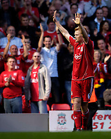 Photo: Jed Wee.<br />Liverpool v Tottenham Hotspur. The Barclays Premiership. 23/09/2006.<br /><br />Liverpool's John Arne Riise celebrates.