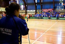 Andrea Lekic has a speech for fans Krimovci during celebration of RK Krim Mercator after the handball game between RK Krim Mercator and ZRK Krka of Liga z'dezele of Slovenian National Championship 2010/2011, on May 14, 2011 in Arena Krim Galjevica, Ljubljana, Slovenia. Krim became Slovenian National Champion 2010//2011. (Photo By Vid Ponikvar / Sportida.com)
