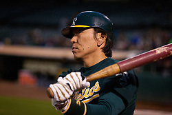 June 28, 2011; Oakland, CA, USA; Oakland Athletics designated hitter Hideki Matsui (55) stands in the on deck circle against the Florida Marlins during the second inning at the O.co Coliseum.  Oakland defeated Florida 1-0.
