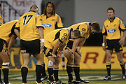 22 February 2003, Super 12 Rugby, Round one, Crusaders vs Hurricanes, Jade Stadium, Christchurch, New Zealand.<br />Dejected Hurricanes after the Crusaders scored<br />Pic: Sandra Teddy/Photosport