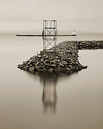 Burlington Vermont Waterfront In PreDawn, Sepia Toned