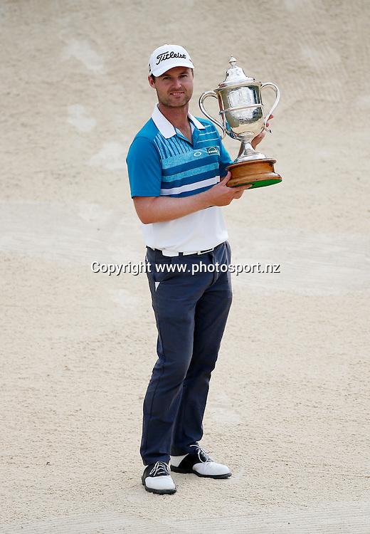 Matthew Griffin winner of the 2016 BMW ISPS Handa New Zealand Open, The Hills, Arrowtown, New Zealand.13 March 2016. Photo by Michael Thomas/www.photosport.nz