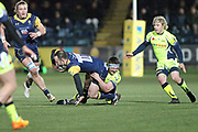 Jono Lance is tackled by Ben Curry during the Aviva Premiership match between Worcester Warriors and Sale Sharks at Sixways Stadium, Worcester, United Kingdom on 1 December 2017. Photo by Daniel Youngs.