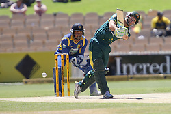 © Licensed to London News Pictures. 08/03/2012. Adelaide Oval, Australia. Matthew Wade steps out of his crease and plays an aggressive shot during the One Day International cricket match final between Australia Vs Sri Lanka. Photo credit : Asanka Brendon Ratnayake/LNP