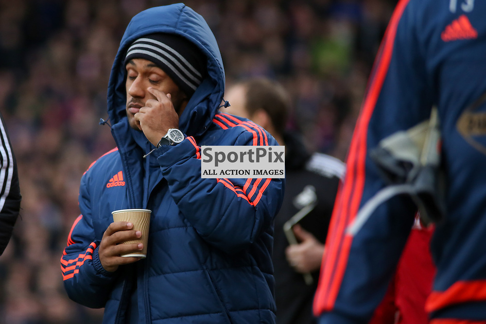 Wayne Routledge of Swansea walks to the bench wearing his watch with his cup of tea During Crystal Palace vs Swansea on Monday the 28th December 2015.