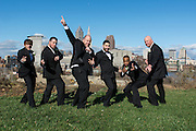 groomsmen with Cleveland skyline by Akron wedding photographer Mara Robinson Photography
