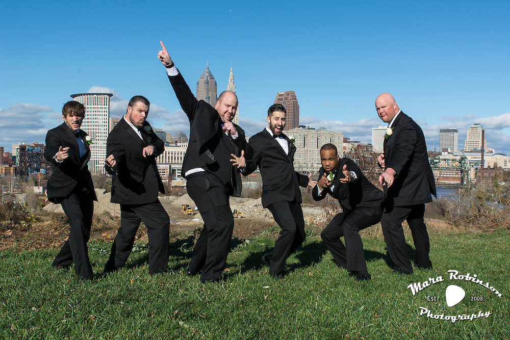 groomsmen with Cleveland skyline by Akron wedding photographer Mara Robinson Photography