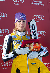 15.01.2012, Pista Olympia delle Tofane, Cortina, ITA, FIS Weltcup Ski Alpin, Damen, Super G, Podium, im Bild Maria Hoefl-Riesch (GER, Rang 2) // second place Maria Hoefl-Riesch of Germany on podium during superG race of FIS Ski Alpine World Cup at 'Pista Olympia delle Tofane' course in Cortina, Italy on 2012/01/15. EXPA Pictures © 2012, PhotoCredit: EXPA/ Johann Groder