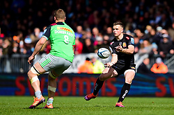Joe Simmonds of Exeter Chiefs is marked by Alex Dombrandt of Harlequins - Mandatory by-line: Ryan Hiscott/JMP - 27/04/2019 - RUGBY - Sandy Park - Exeter, England - Exeter Chiefs v Harlequins - Gallagher Premiership Rugby