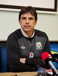 BRUSSELS, BELGIUM - Monday, October 14, 2013: Wales' manager Chris Coleman during a press conference at Dolce La Hulpe Hotel ahead of the 2014 FIFA World Cup Brazil Qualifying Group A match against Belgium. (Pic by David Rawcliffe/Propaganda)