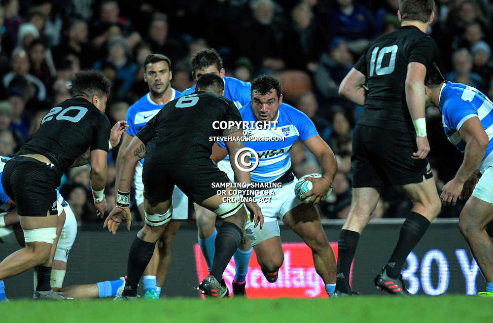 Agustin Creevy takes the ball up during The Rugby Championship match between the NZ All Blacks and Argentina Pumas at FMG Stadium in Hamilton, New Zealand on Saturday, 10 September 2016. Photo: Dave Lintott / lintottphoto.co.nz