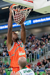 Alade Aminu #12 of Banvit B.K. during basketball match between KK Union Olimpija Ljubljana and Banvit B.K. (TUR) in 4th Round of EuroCup LAST 32 2013/14 on January 22, 2014 in Arena Stozice, Ljubljana, Slovenia. Photo by Urban Urbanc / Sportida